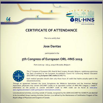 certificado participacao ORL 2019